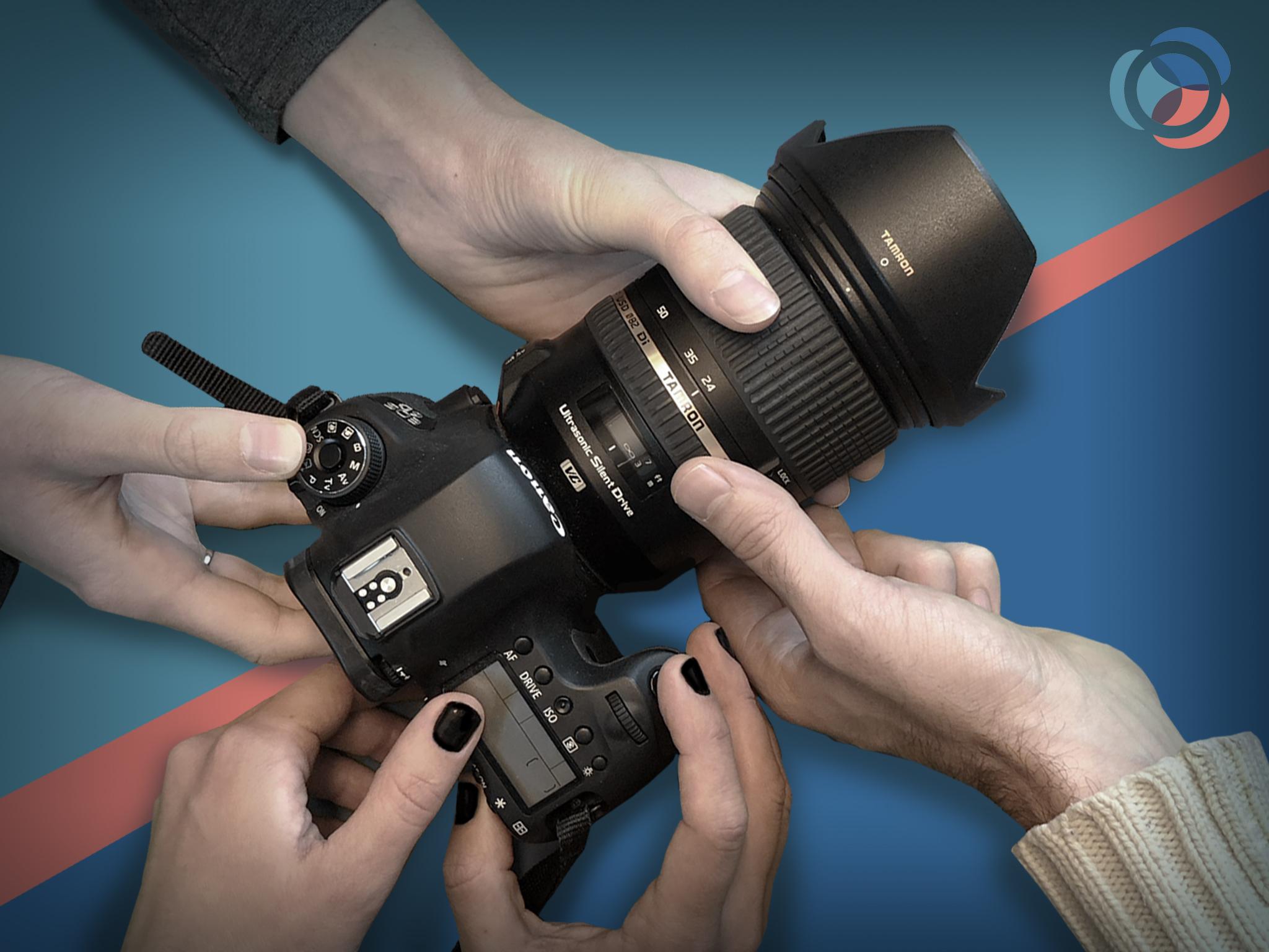 Många händer på 1 kamera